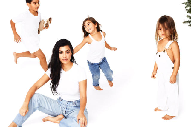 <p>Kourtney poses while Mason, Penelope, and Reign frolick behind her. (Photo: Eli Russell Linnetz/Kim Kardashian via Twitter) </p>
