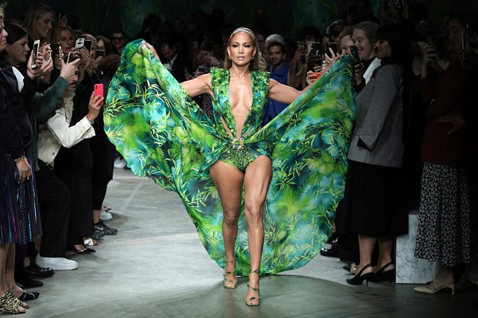 Jennifer Lopez proves age is just a number walking the Versace show during Milan Fashion Week in September 2019 (Getty)
