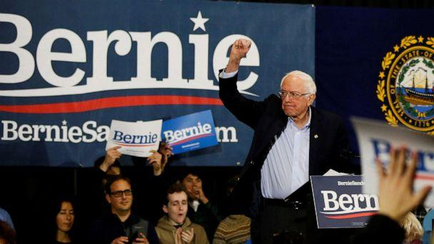 PHOTO: Democratic presidential candidate nator Bernie Sanders raises his fist in the air during a campaign town hall event in Exeter, New Hampshire on Jan. 18, 2020. (Elizabeth Frantz/Reuters)
