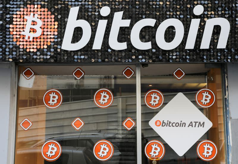 FILE PHOTO: A Bitcoin digital currency ATM shop is seen in Marseille