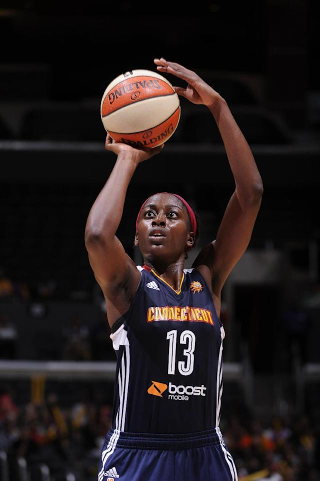 LOS ANGELES, CA - AUGUST 3: Chiney Ogwumike #13 of the Connecticut Sun shoots a free throw against the Los Angeles Sparks at STAPLES Center on August 3, 2014 in Los Angeles, California. (Photo by Juan Ocampo/NBAE via Getty Images)