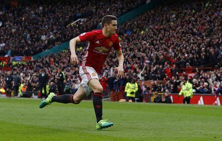 Manchester United's Ander Herrera celebrates scoring their second goal