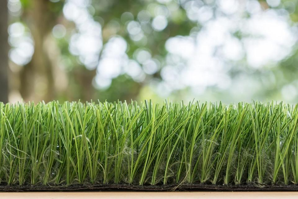 """Synthetic turf may make your yard look pristine, all day, every day, but it comes with a high price for puppy parents. """"Where natural grasses clean themselves and cool the air, synthetic turf harbors biological hazards from waste and blood, needs hazardous chemicals to clean it, and increases the chances of heat exhaustion,"""" Aoyagi notes."""