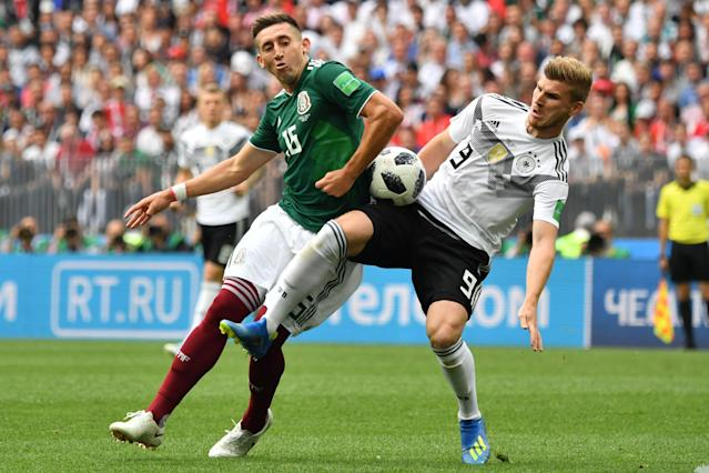 <p>Mexico's midfielder Hector Herrera (L) vies with Germany's forward Timo Werner during the Russia 2018 World Cup Group F football match between Germany and Mexico at the Luzhniki Stadium in Moscow on June 17, 2018. (Photo by Yuri CORTEZ / AFP) </p>
