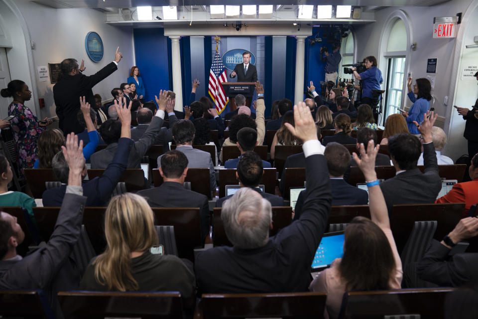 White House national security adviser Jake Sullivan speaks during a press briefing at the White House, Monday, June 7, 2021, in Washington. (AP Photo/Evan Vucci)