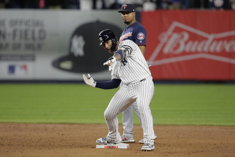 New York Yankees' Gleyber Torres reacts after driving in two runs against the Minnesota Twins during the fifth inning of Game 1 of an American League Division Series baseball game, Friday, Oct. 4, 2019, in New York. (AP Photo/Seth Wenig)