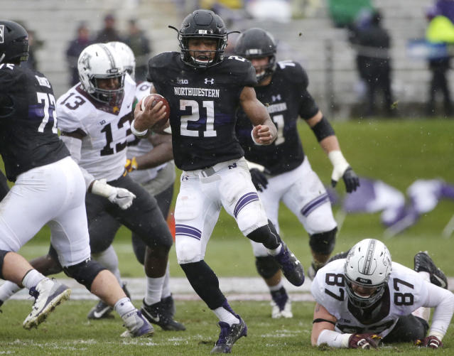 "Northwestern running back Justin  <span class=""s1"">Jackson had 31 carries for 166 yards in Saturday's win over Minnesota</span>. (AP Photo/Nam Y. Huh)"
