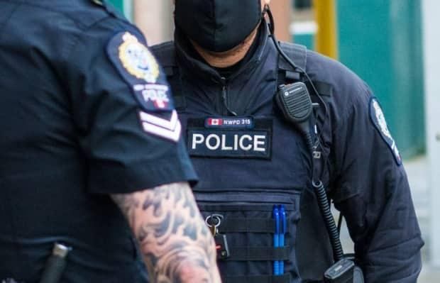New Westminster Police say approximately 30 youths were involved in a fight April 10, that ended with one youth transported to hospital with serious stab wounds, and the arrest of four armed suspects.. (NWPD - image credit)
