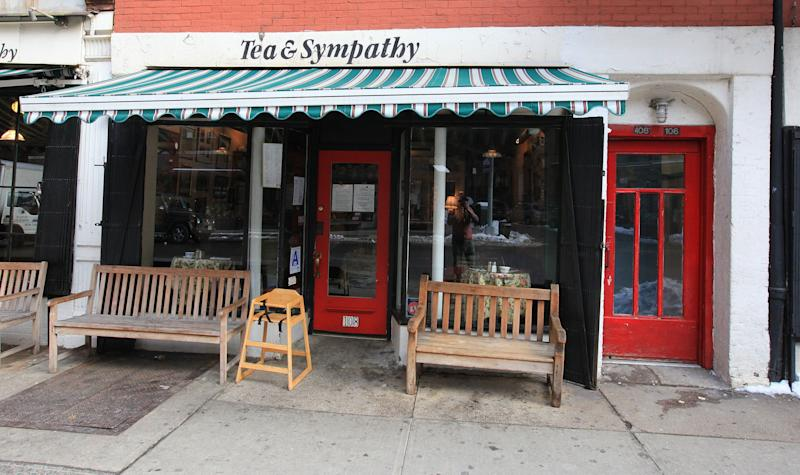 "Nick invites Rachel to spend the summer in Asia over afternoon tea at <a href=""https://www.teaandsympathy.com/"" target=""_blank"" rel=""noopener noreferrer"">Tea &amp; Sympathy</a> in the West Village in New York."