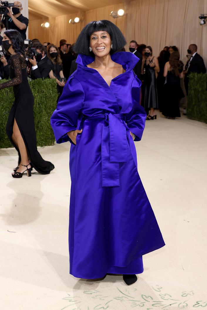 """<h2>Tracee Ellis Ross wearing Balenciaga couture</h2><br>An ode to renowned supermodel Grace Jones, Tracee Ellis Ross rocked an electric-blue Balenciaga couture coat-gown that's an """"expression of her inner self."""" <br><br><span class=""""copyright"""">Photo by John Shearer/WireImage.</span>"""