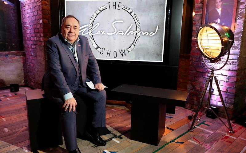 Alex Salmond during the launch of his RT chat show The Alex Salmond Show, at Millbank Tower in London - PA