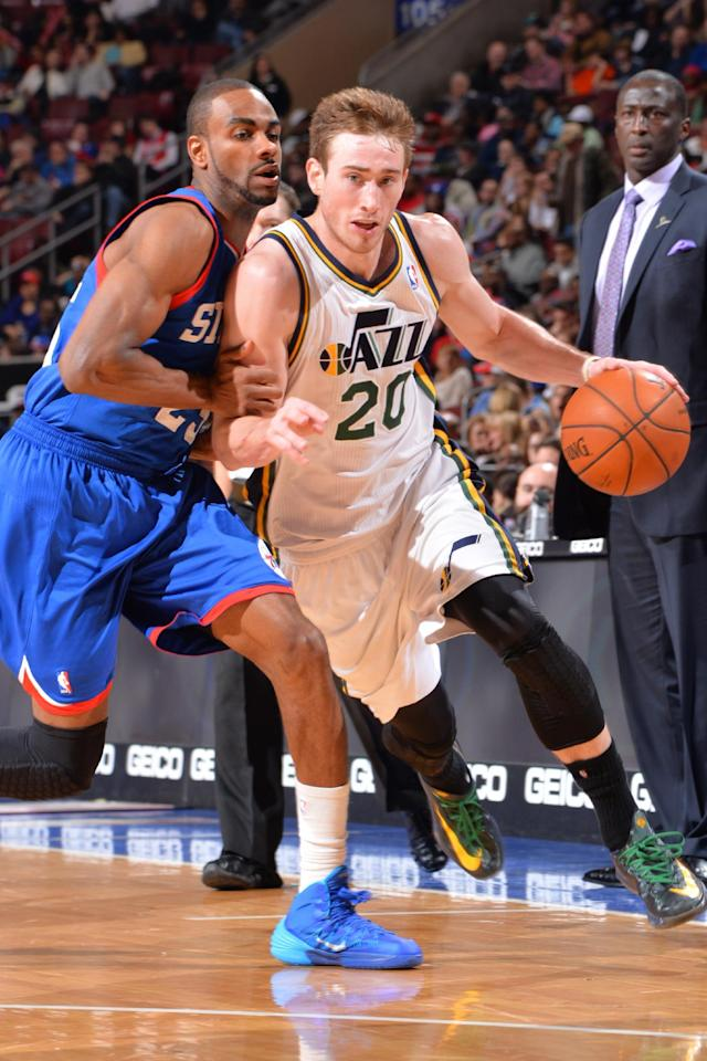 PHILADELPHIA, PA - MARCH 8: Brandon Davies #20 of the Utah Jazz dribble up the court against the Philadelphia 76ers at the Wells Fargo Center on March 8, 2014 in Philadelphia, Pennsylvania. (Photo by Jesse D. Garrabrant/NBAE via Getty Images)
