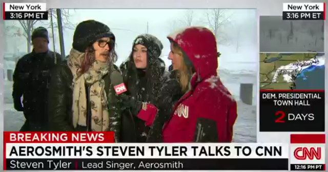 Aerosmith's Steven Tyler Wandered Into a CNN Live Shot and Talked About the Blizzard