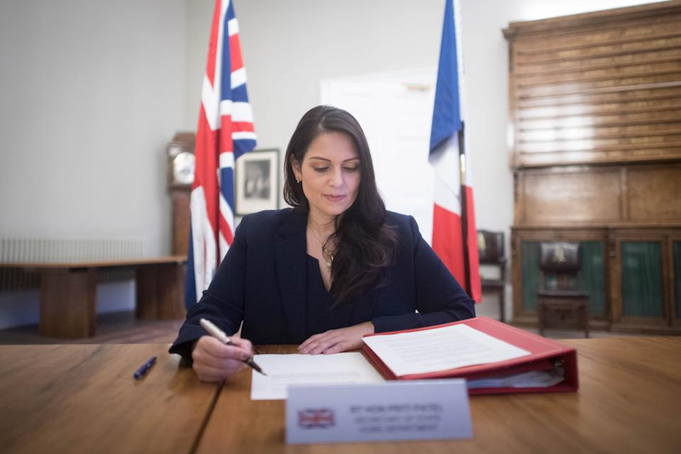 Home Secretary Priti Patel at the Home Office in central London, where she signed a new agreement with her French counterpart Gerald Darmanin aimed at curbing the number of migrants crossing the English Channel in small boats. (Photo by Stefan Rousseau/PA Images via Getty Images)