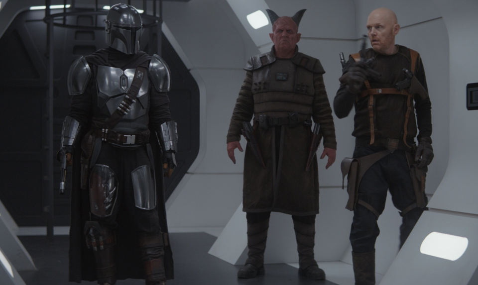 From l to r: Pedro Pascal, Clancy Brown and Bill Burr on a Season 1 episode of 'The Mandalorian' (Photo: Disney+)