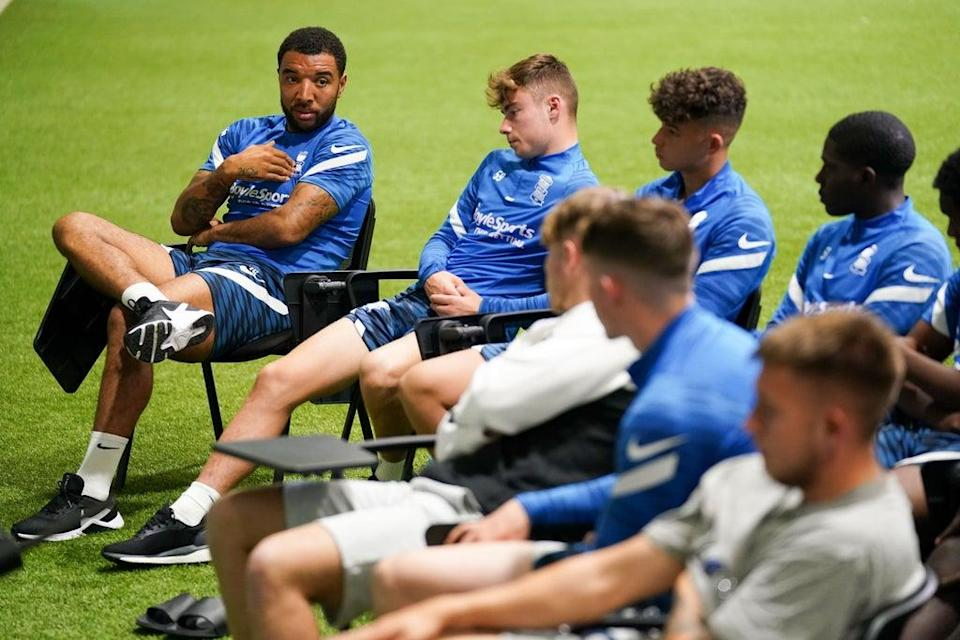 Deeney (left) speaks to players during the talk (Jacob King/PA) (PA Wire)
