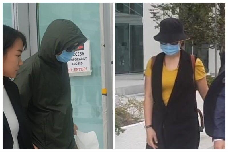 Chinese nationals Hu Jun, 38, and his wife Shi Sha, who were charged under the Infectious Diseases Act, walking outside the State Courts building on 28 February 2020. (PHOTOS: Wan Ting Koh/Yahoo News Singapore)