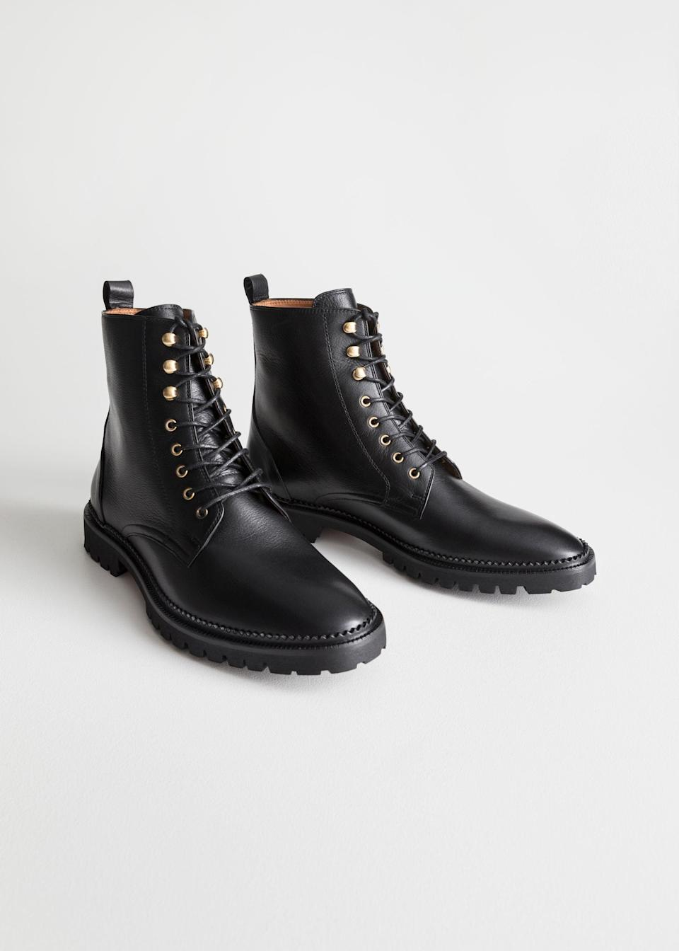 "<br><br><strong>& Other Stories</strong> Lace-Up Leather Boots, $, available at <a href=""https://go.skimresources.com/?id=30283X879131&url=https%3A%2F%2Fwww.stories.com%2Fen_usd%2Fshoes%2Fboots%2Fankleboots%2Fproduct.lace-up-leather-boots-black.0558709001.html"" rel=""nofollow noopener"" target=""_blank"" data-ylk=""slk:& Other Stories"" class=""link rapid-noclick-resp"">& Other Stories</a>"