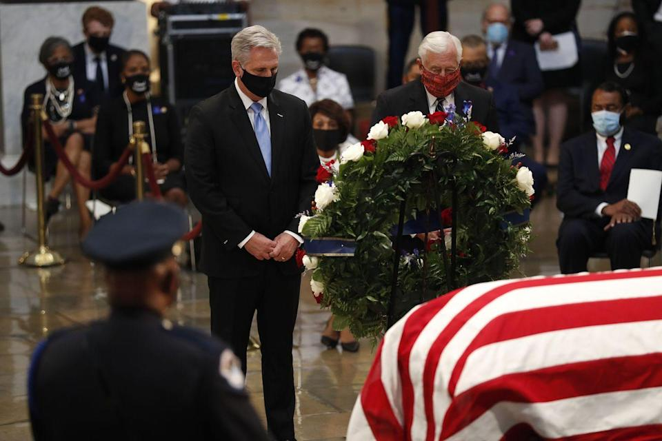 <p>House Minority Leader Kevin McCarthy (L) and House Majority Leader Steny Hoyer pass the casket of the late Rep. John Lewis, D-GA, a key figure in the civil rights movement and a 17-term congressman from Georgia, as he lies in state in the Rotunda of the US Capitol in Washington, DC, on July 27, 2020.</p>