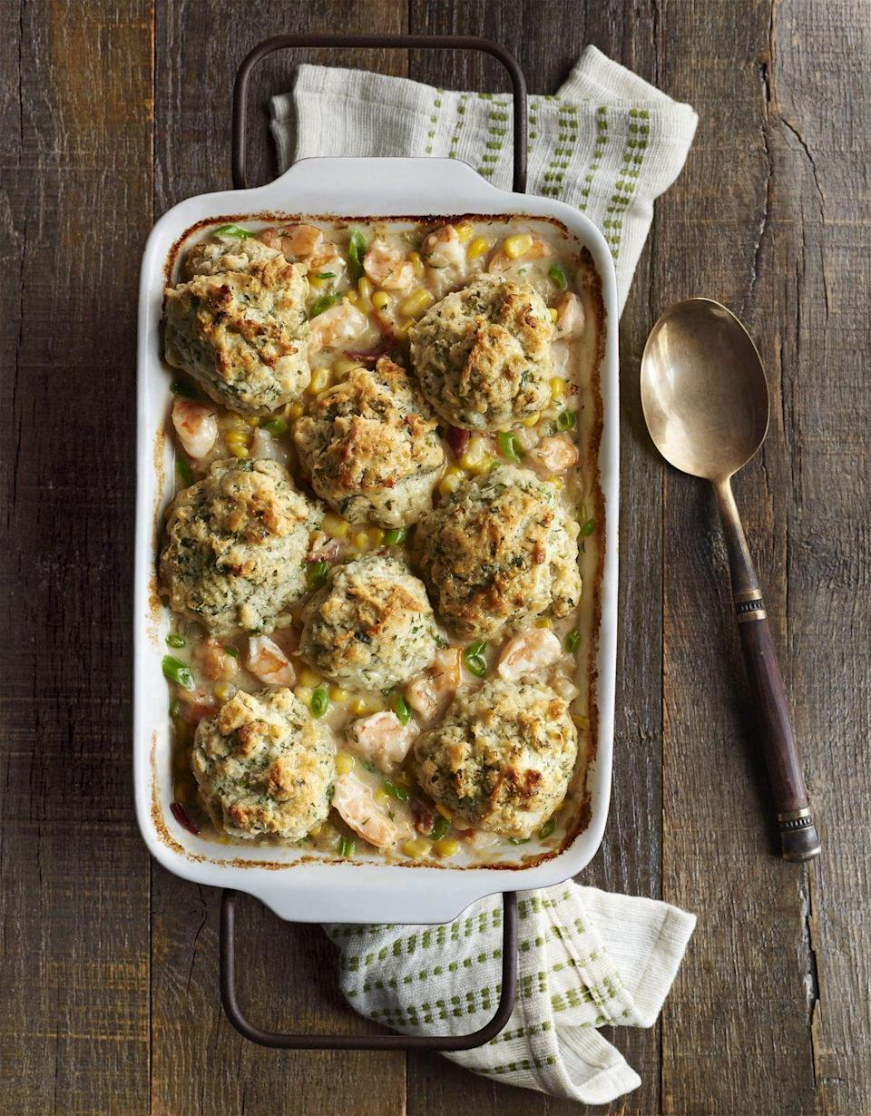 """<p>Have guests coming in an hour? Thirty minutes at the stove, and you'll wow them with plump shrimp and herb-flecked biscuits.</p><p><strong><a href=""""https://www.countryliving.com/food-drinks/recipes/a36146/shrimp-chowder-herb-drop-biscuits/"""" rel=""""nofollow noopener"""" target=""""_blank"""" data-ylk=""""slk:Get the recipe"""" class=""""link rapid-noclick-resp"""">Get the recipe</a>.</strong> </p>"""