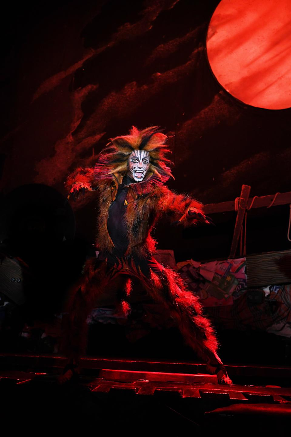 Macavity in the London/West End Cats musical 2019 tour production by Cameron Mackintosh and Andrew Lloyd Webber's The Really Useful Theatre Group. (PHOTO: CATS Tour 2019/Alessandro Pinna)
