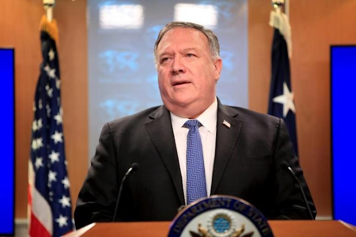 Secretary of State Mike Pompeo tells a news conference that the United States is offering rewards aimed at stopping election interference (AFP Photo/Pablo Martinez Monsivais)
