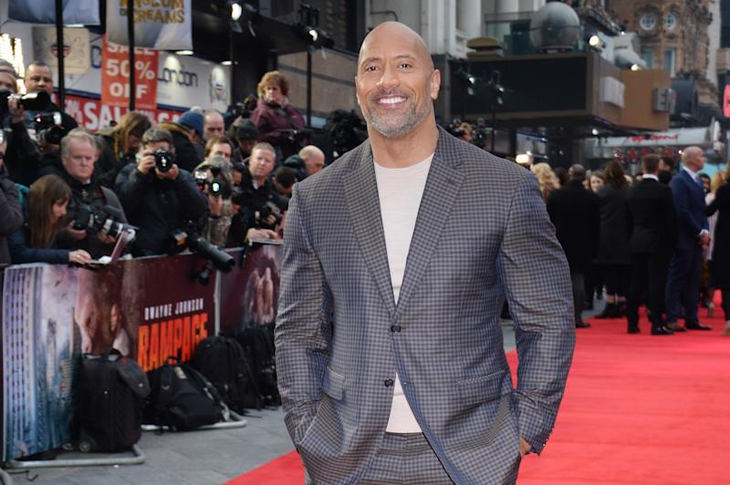 "Dwayne ""The Rock"" Johnson attends the European premiere of ""Rampage"" on April 11, 2018, in London. (Photo: David M. Benett/Dave Benett/WireImage)"
