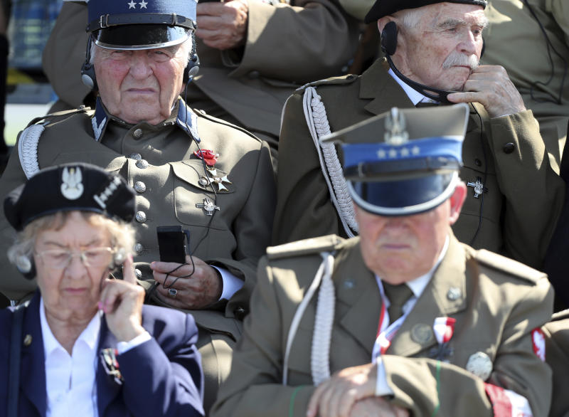 Polish war veterans attend a memorial ceremony marking the 80th anniversary of the start of World War II in Warsaw, Poland, Sunday, Sept. 1, 2019.(AP Photo/Czarek Sokolowski)