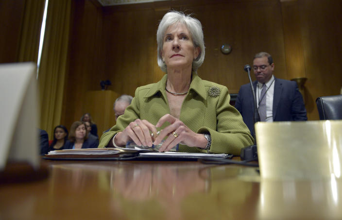 Health and Human Services Secretary Kathleen Sebelius listens on Capitol Hill in Washington, Thursday, April 10, 2014, during the Senate Finance Committee hearing on the HHS Department's fiscal Year 2015 budget. A White House official says Sebelius is resigning from the Obama administration. The move comes just a week after the close of the rocky enrollment period for President Barack Obama's health care law. (AP Photo/Susan Walsh)