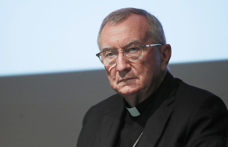 The Vatican secretary of state Cardinal Pietro Parolin attends at the 150th anniversary of the arrival of Catholic missionaries in China from an Italian religious order meeting, in Milan, Italy, Saturday, Oct. 3, 2020. The Vatican doubled down Saturday on its intent to pursue continued dialogue with China over bishop nominations, defending the deal as necessary to the life of the Catholic Church there over strong U.S. objections. (AP Photo/Antonio Calanni)
