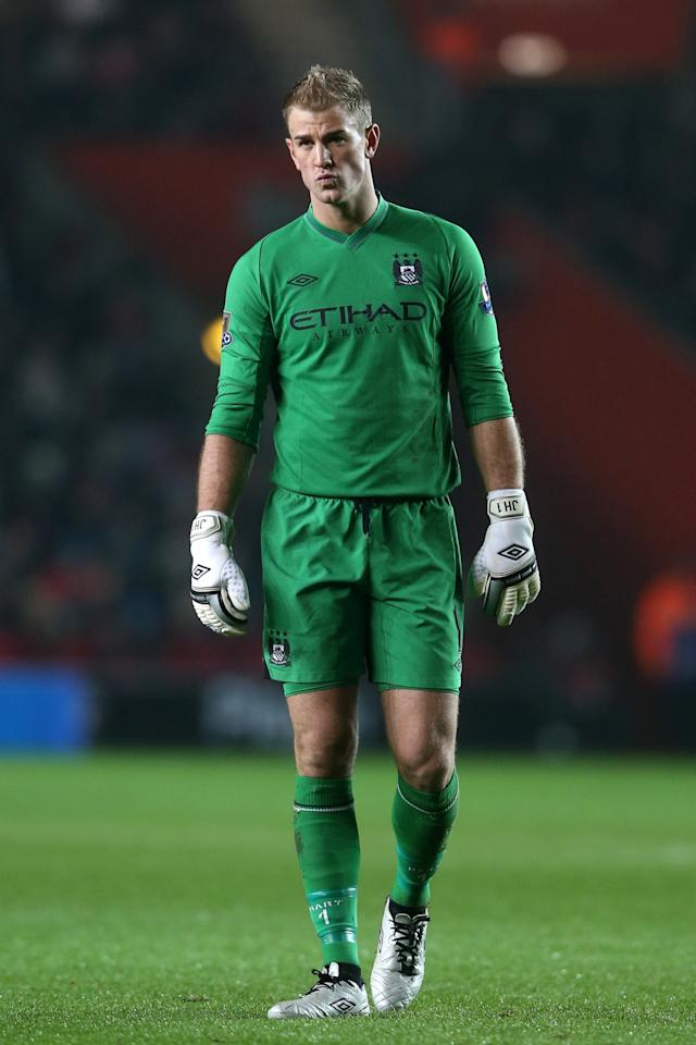 SOUTHAMPTON, ENGLAND - FEBRUARY 09:  Joe Hart of Manchester City looks on during the Barclays Premier League match between Southampton and Manchester City at St Mary's Stadium on February 9, 2013 in Southampton, England.  (Photo by Scott Heavey/Getty Images)