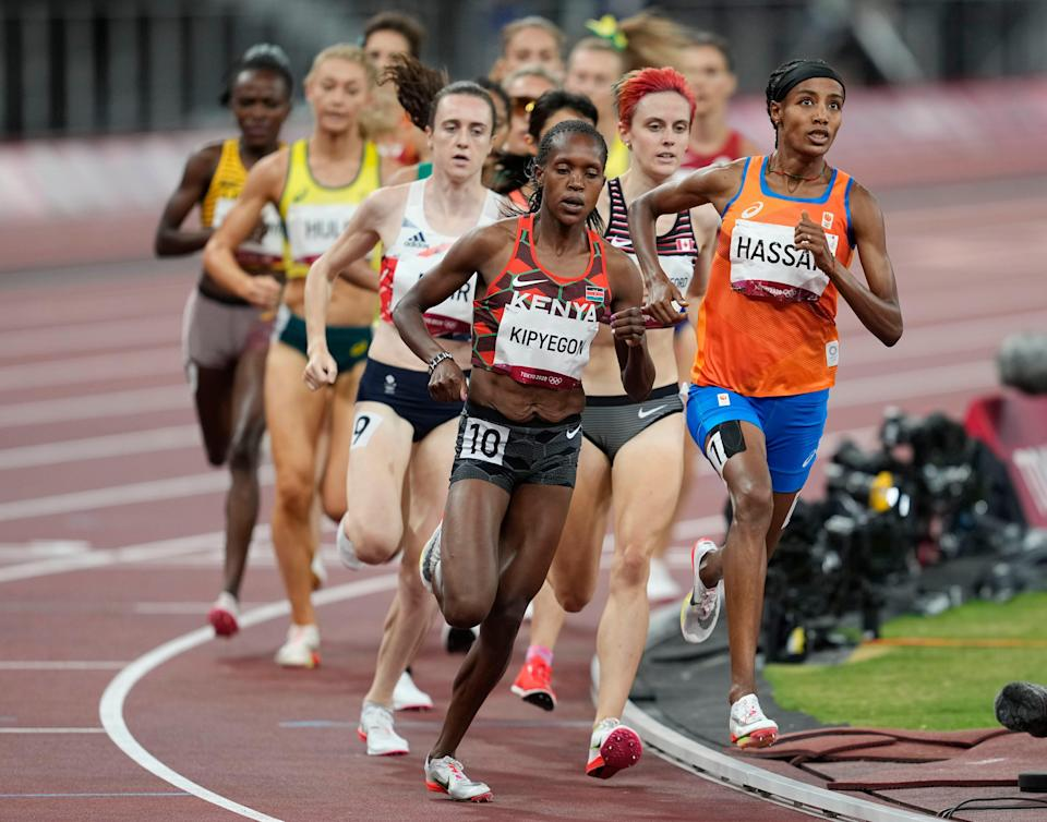 Kenya's Faith Kipyegon competes in the women's 1500-meter final during the Tokyo Olympics.