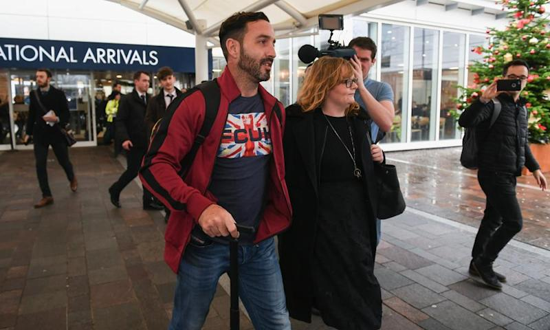 Billy Irving arrives home in Glasgow.