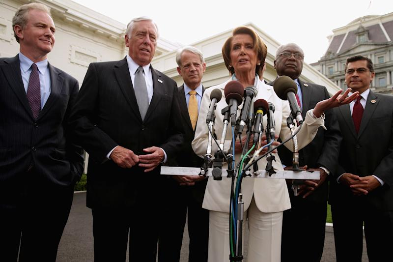 House Democratic leaders (L-R) House Budget Committee ranking member Rep. Chris Van Hollen (D-MD), Minority Whip Steny Hoyer, Rep. Steve Israel (D-NY), Minority Leader Nancy Pelosi (D-CA), Rep. James Clyburn (D-SC) and Rep. Xavier Becerra (D-CA) talk to reporters after meeting with U.S. President Barack Obama and Vice President Joe Biden in the Oval Office at the White House October 15, 2013 in Washington, D.C. (Photo by Chip Somodevilla/Getty Images)