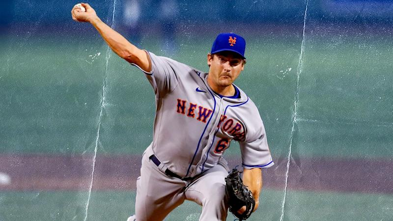 Seth Lugo fires from the mound in road jersey treated art