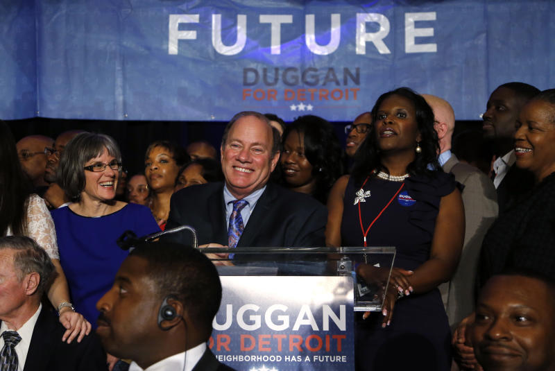Mayoral candidate Mike Duggan speaks at his election night celebration in Detroit Tuesday, Nov. 5, 2013. (AP Photo/Paul Sancya)