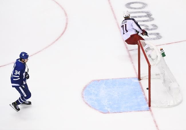 Blue Jackets shut out Maple Leafs 3-0 to win series 3-2 and send Toronto packing