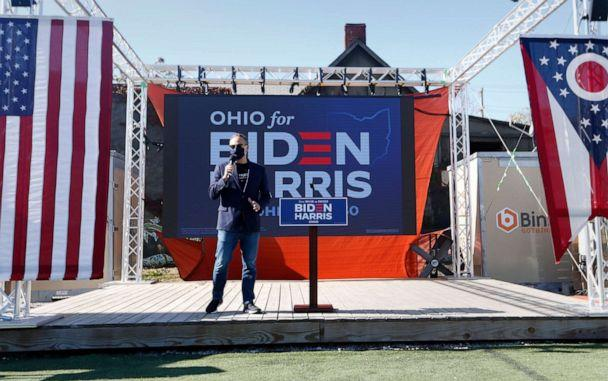 PHOTO: Doug Emhoff, husband of Democratic vice presidential candidate Sen. Kamala Harris, greets the crowd during a get out the vote rally at Land Grant Brewing Company in Columbus, Ohio, Nov. 3, 2020. (Paul Vernon/AP, FILE)