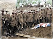 <p>Allied soldiers attending the funeral of Sergeant Henry Nicholas VC in France (Royston Leonard / Media Drum World / Caters News) </p>