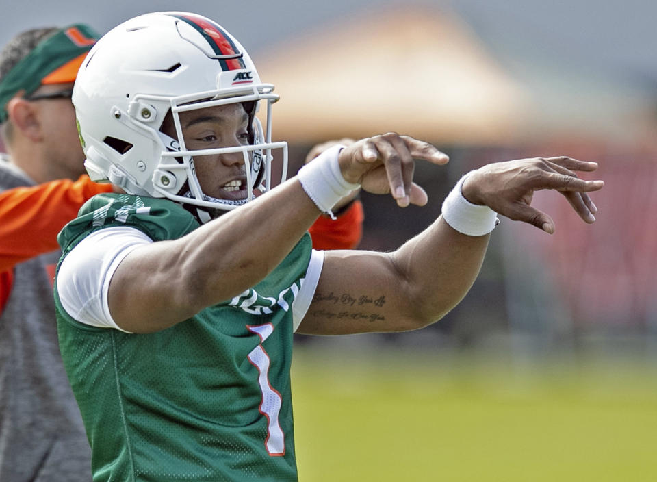 Miami Hurricanes quarterback D'Eriq King can still convince the NFL that he deserves to keep playing QB in the league. (Al Diaz/Miami Herald/Tribune News Service via Getty Images)