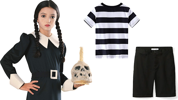 Sibling Halloween costumes: Wednesday and Pugsley Addams