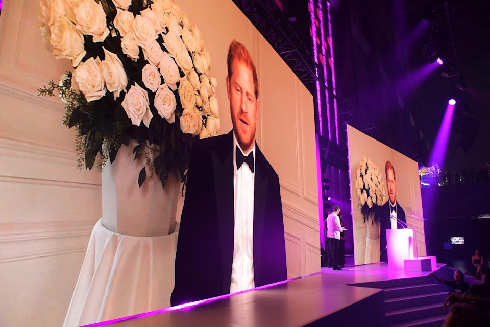 LONDON, ENGLAND - SEPTEMBER 01: Prince Harry, Duke of Sussex, appears via video link  at the 24th GQ Men of the Year Awards in association with BOSS at Tate Modern on September 1, 2021 in London, England.  (Photo by David M. Benett/Dave Benett/Getty Images for Hugo Boss UK)