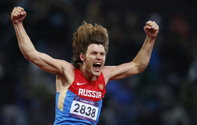 Russia's Ivan Ukhov reacts after winning the men's high jump final during the London 2012 Olympic Games at the Olympic Stadium August 7, 2012. REUTERS/Mark Blinch (BRITAIN - Tags: OLYMPICS SPORT ATHLETICS TPX IMAGES OF THE DAY)