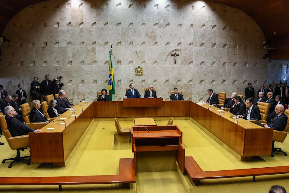 General view of the solemn session at the Supreme Court plenary, in Brasilia on October 4, 2018 to mark the 30th anniversary of the 1988 Brazilian Constitution. (Photo by EVARISTO SA / AFP)        (Photo credit should read EVARISTO SA/AFP via Getty Images)