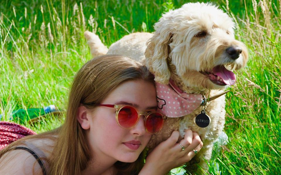 Tanith Carey's daughter Clio and their dog Honey