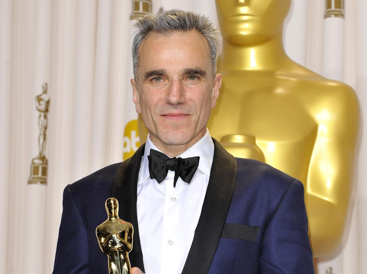 <p>Celebrating the career of the most acclaimed actor of his generation – pictured here after his record-breaking third Best Actor Oscar win for 2012's 'Lincoln' – as he reaches 60. (Picture credit: WENN) </p>