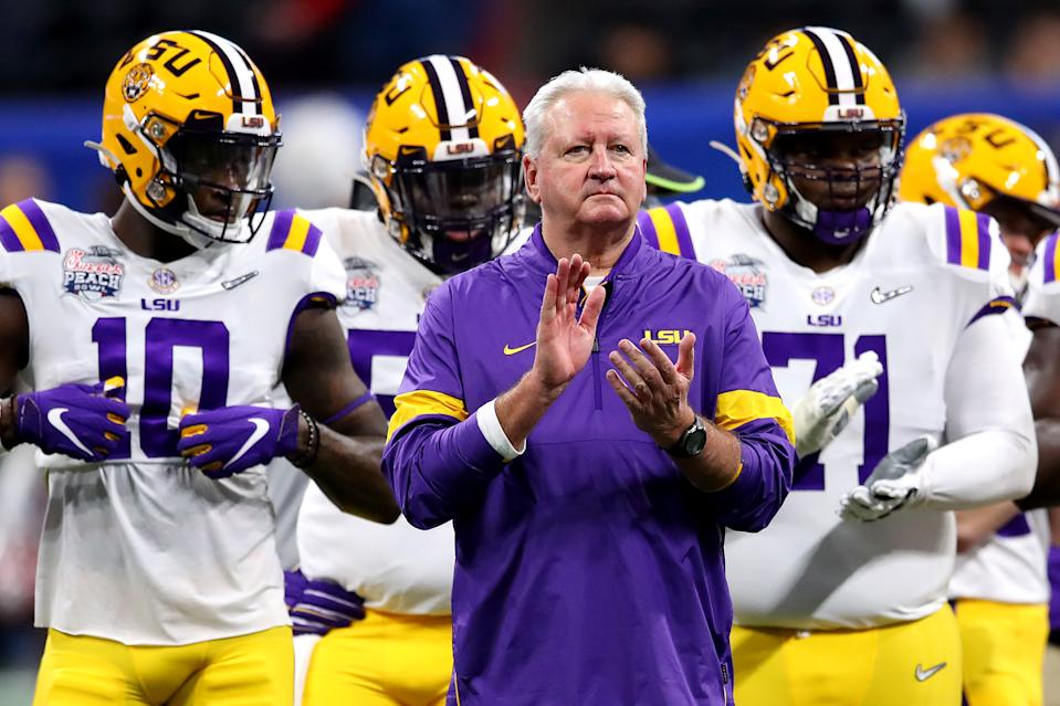 LSU OC Steve Ensminger prepares for the Peach Bowl after learning of tragedy. (Gregory Shamus/Getty Images)