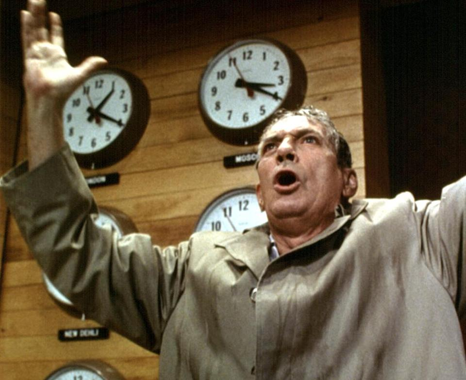 """<a href=""""http://movies.yahoo.com/movie/network/"""" data-ylk=""""slk:NETWORK"""" class=""""link rapid-noclick-resp"""">NETWORK</a> (1976) <br>Directed by: <span>Sidney Lumet</span> <br>Starring: <span>Faye Dunaway</span>, <span>William Holden</span> and <span>Peter Finch</span>"""