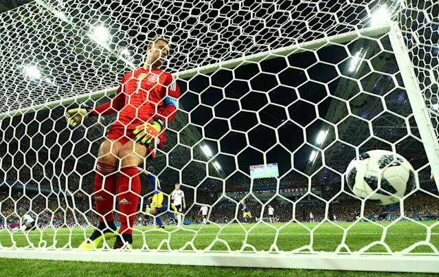 Soccer Football - World Cup - Group F - Germany vs Sweden - Fisht Stadium, Sochi, Russia - June 23, 2018 Germany's Manuel Neuer reacts as Sweden's Ola Toivonen scores their first goal REUTERS/Michael Dalder