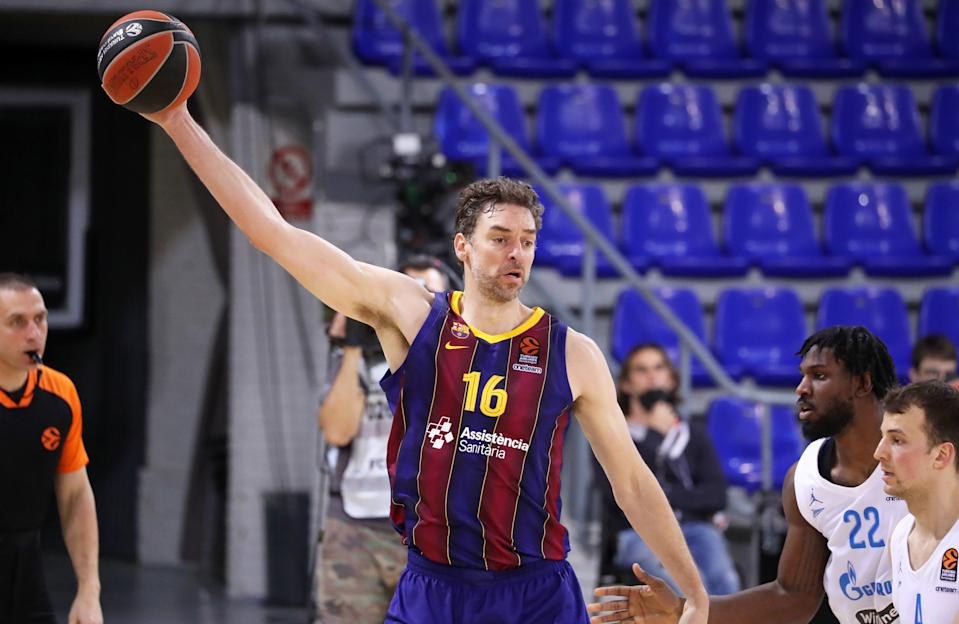 Pau Gasol during the match between FC Barcelona and BC Zenit Saint Petersburg, corresponding to the 5th match of the 1/4 final of the Euroleague, played at the Palau Blaugrana, on 04th May 2021, in Barcelona, Spain. (Photo by Joan Valls/Urbanandsport/NurPhoto via Getty Images)